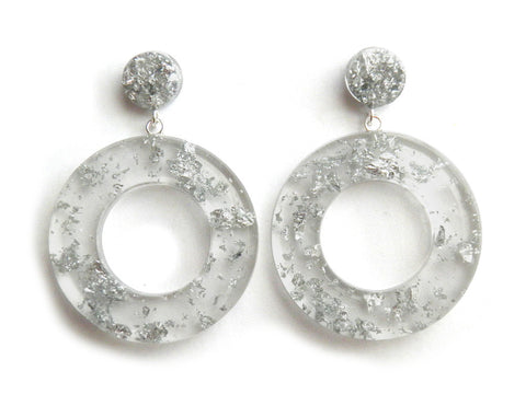 Silver Clear Donut Drop Studs