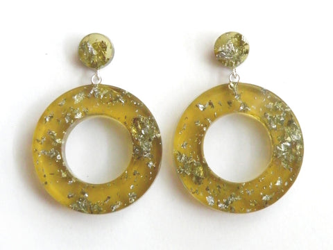 Chartreuse + Silver Leaf Donut Drop Stud Earrings