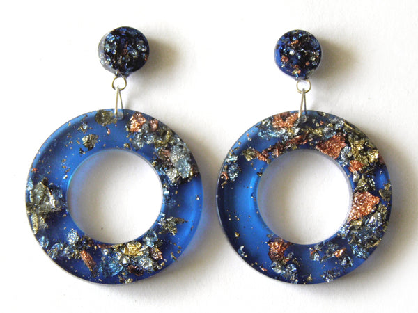 SuperFancy Blue Donut Drop Stud Earrings