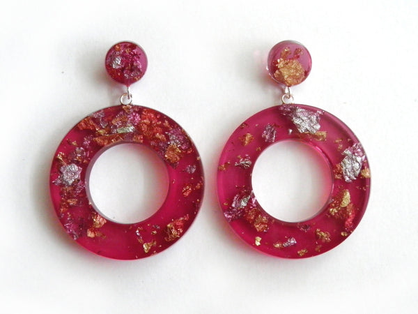 SuperFancy Pink Donut Drop Stud Earrings
