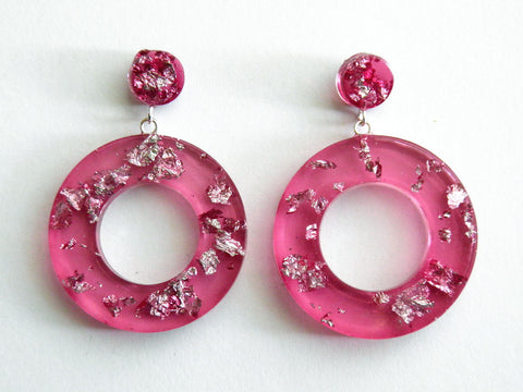 Discontinued Sale: Pink + Silver Donut Drop Stud Earrings