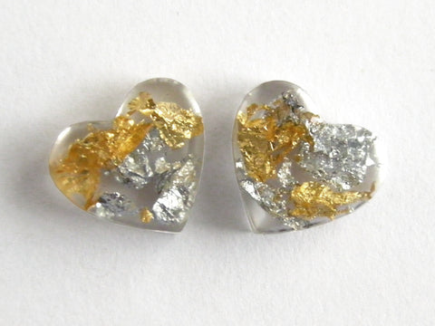 Fancy Clear Hearts Stud Earrings - SALE