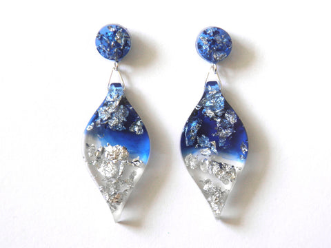 Blue to Silver Leaf Drop Studs