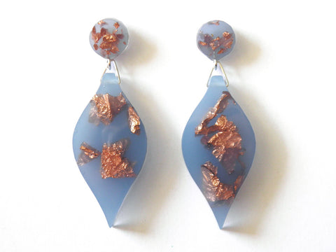 SALE Pastel Blue + Copper Leaf Drop Studs