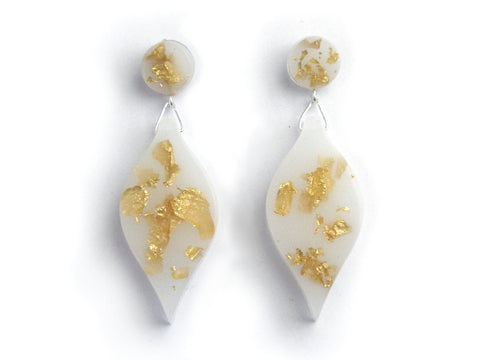 White + Gold Leaf Drop Studs SALE