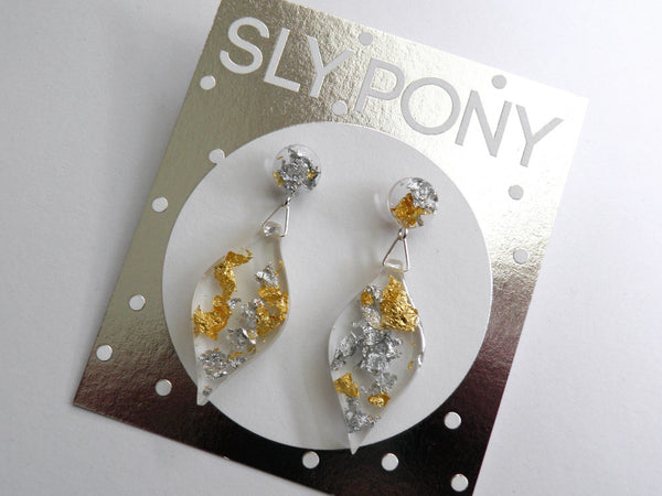 White + Gold Leaf Drop Studs