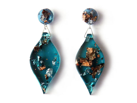 SALE Jade, Copper + Silver Leaf Drop Studs
