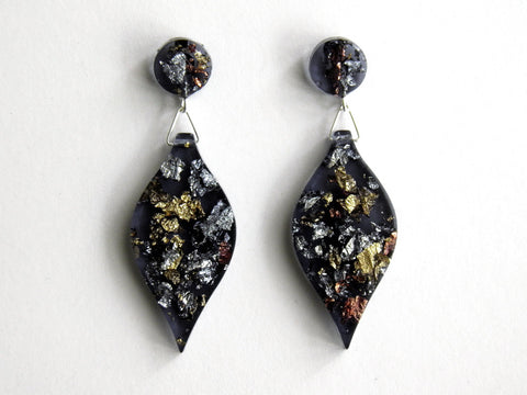 SALE SuperFancy Black Leaf Drop Studs