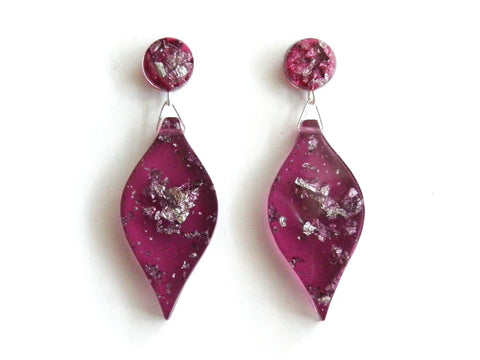 SALE Plum + Silver Leaf Drop Studs
