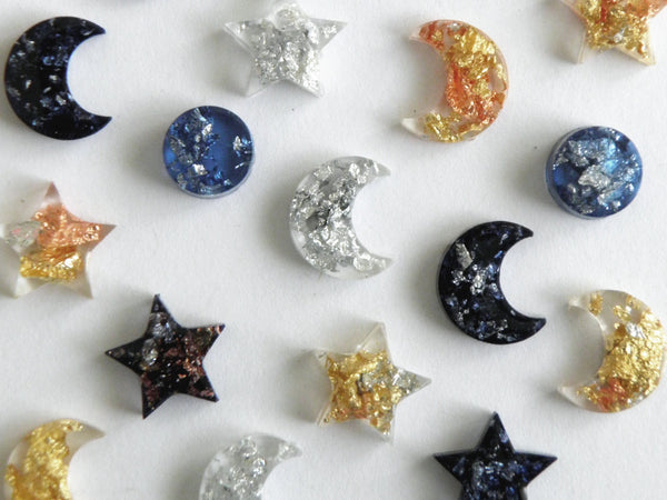 SuperFancy Clear Moon Stud Earrings -  SALE