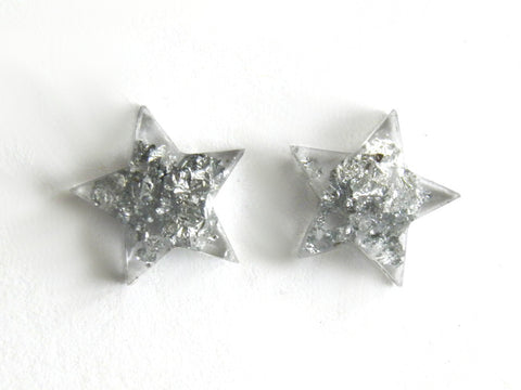 Silver Star Stud Earrings - SALE