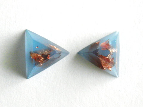 Pastel Blue + Copper Triangle Stud Earrings