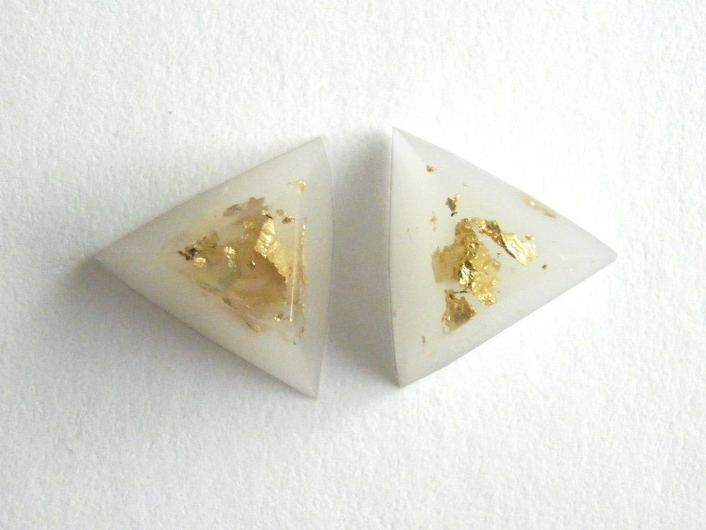 Gold + White Triangle Stud Earrings