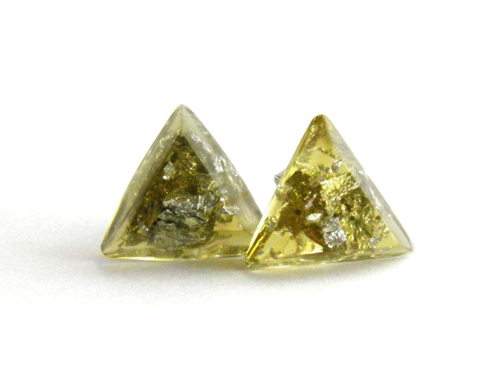 Chartreuse + Silver Triangle Stud Earrings
