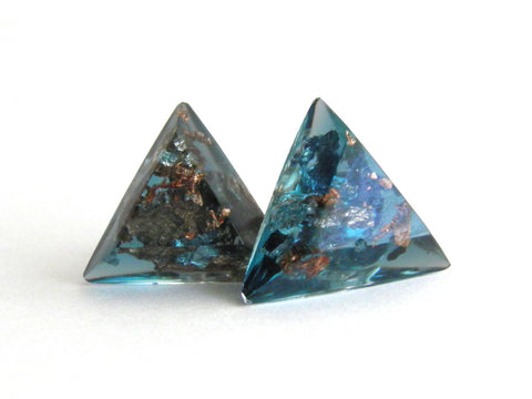 Jade + Copper Triangle Stud Earrings