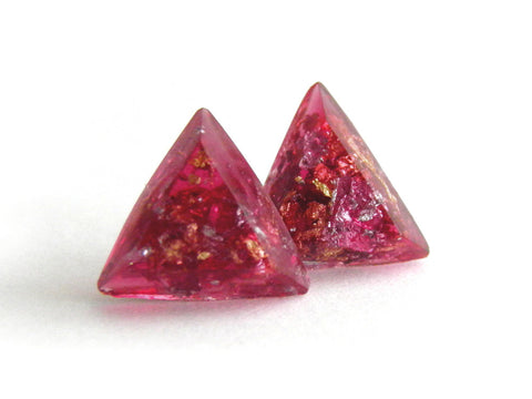 SuperFancy Pink Triangle Stud Earrings
