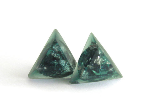 Green + Silver Triangle Stud Earrings