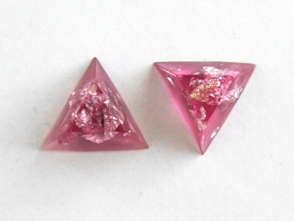 Discontinued Sale: Pink + Silver Triangle Stud Earrings