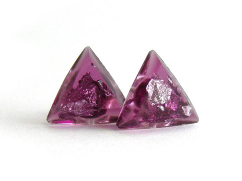 SALE Plum + Silver Triangle Stud Earrings