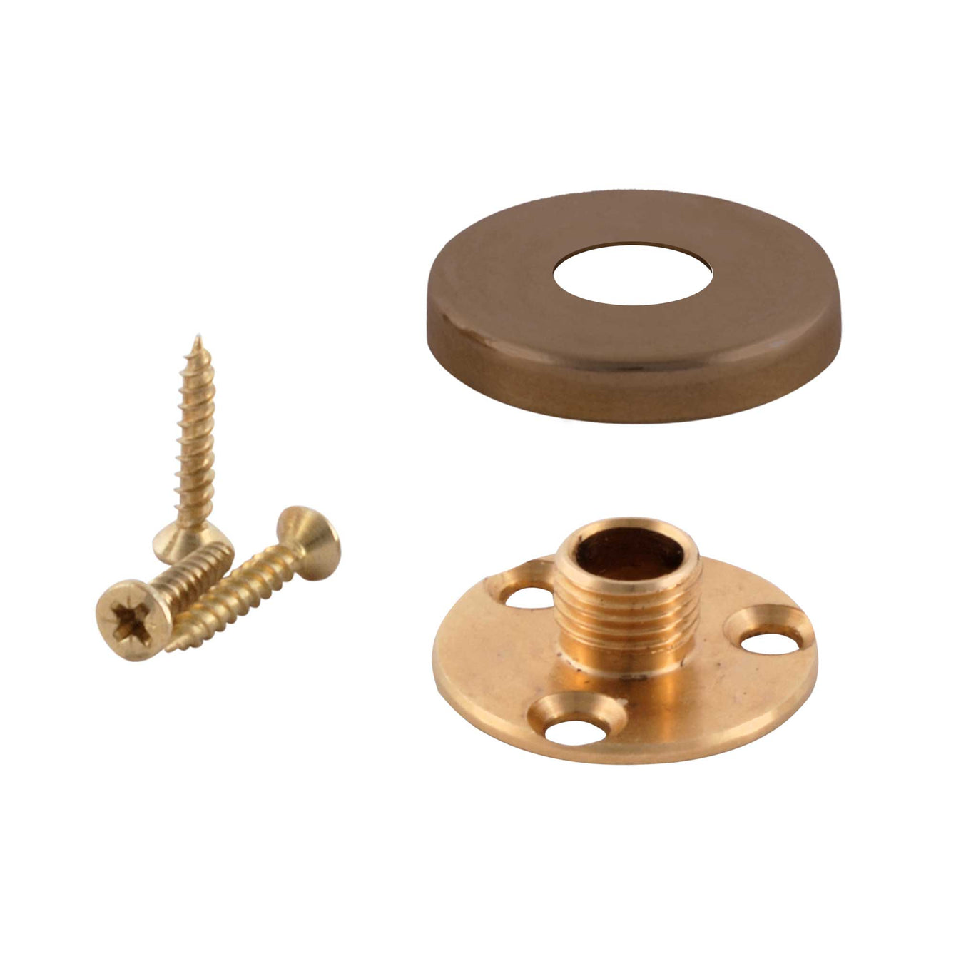 ElekTek Brass Back Plate Kit - 10mm Male Thread and Screws with Cover - For use with E27 10mm Lampholder Nickel