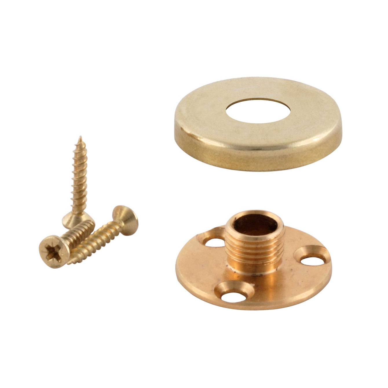 ElekTek Brass Back Plate Kit - 10mm Male Thread and Screws with Cover - For use with E27 10mm Lampholder Antique Brass