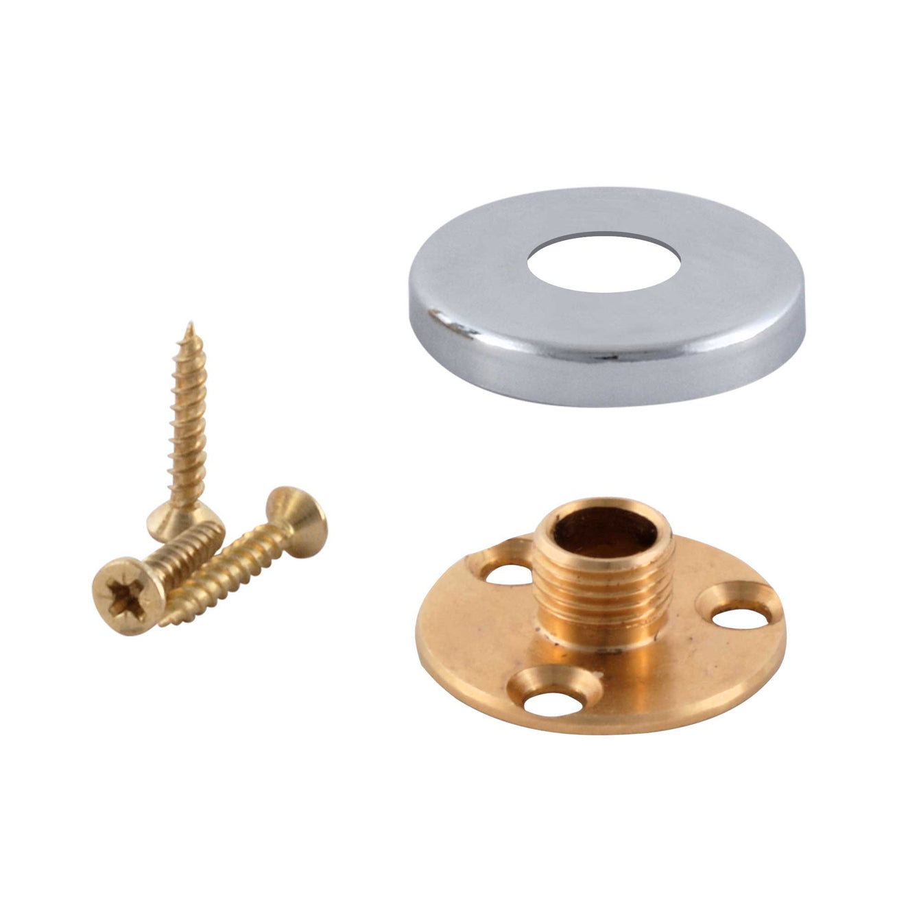 ElekTek Brass Back Plate Kit - 10mm Male Thread and Screws with Cover - For use with E27 10mm Lampholder