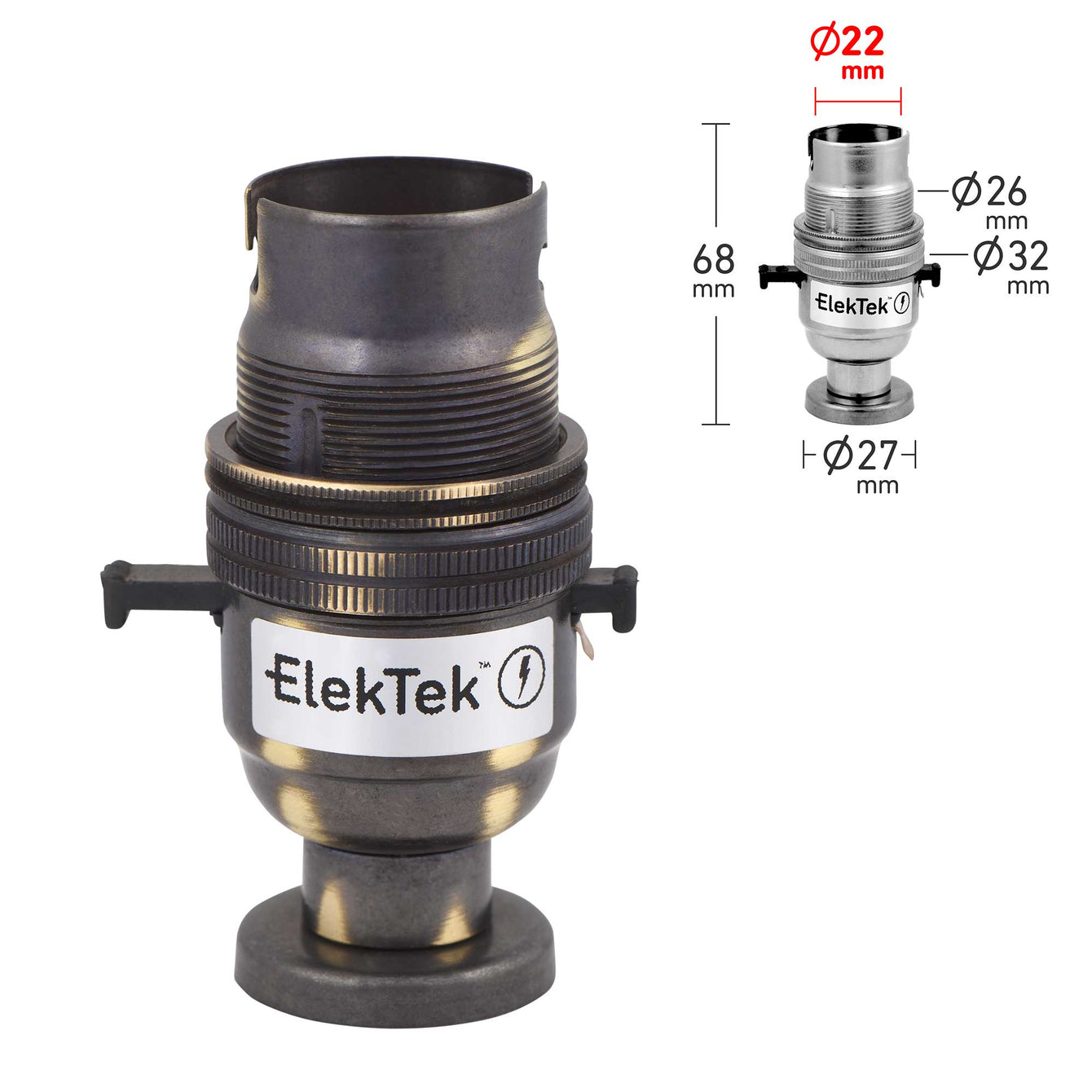 ElekTek Safety Switch Lamp Holder Half Inch Bayonet Cap B22 With Shade Ring Back Plate Cover and Screws Brass