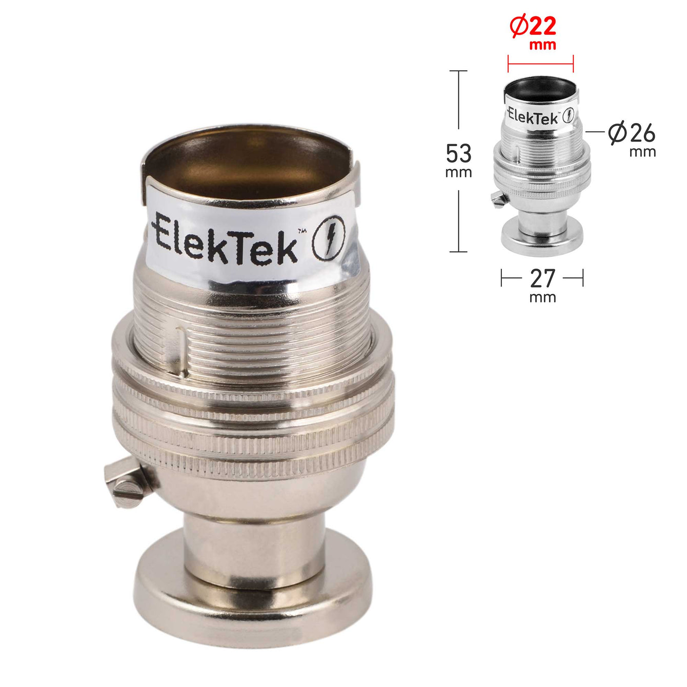 ElekTek Lamp Holder Half Inch Bayonet Cap B22 Unswitched With Shade Ring Back Plate Cover and Screws Solid Brass - Buy It Better