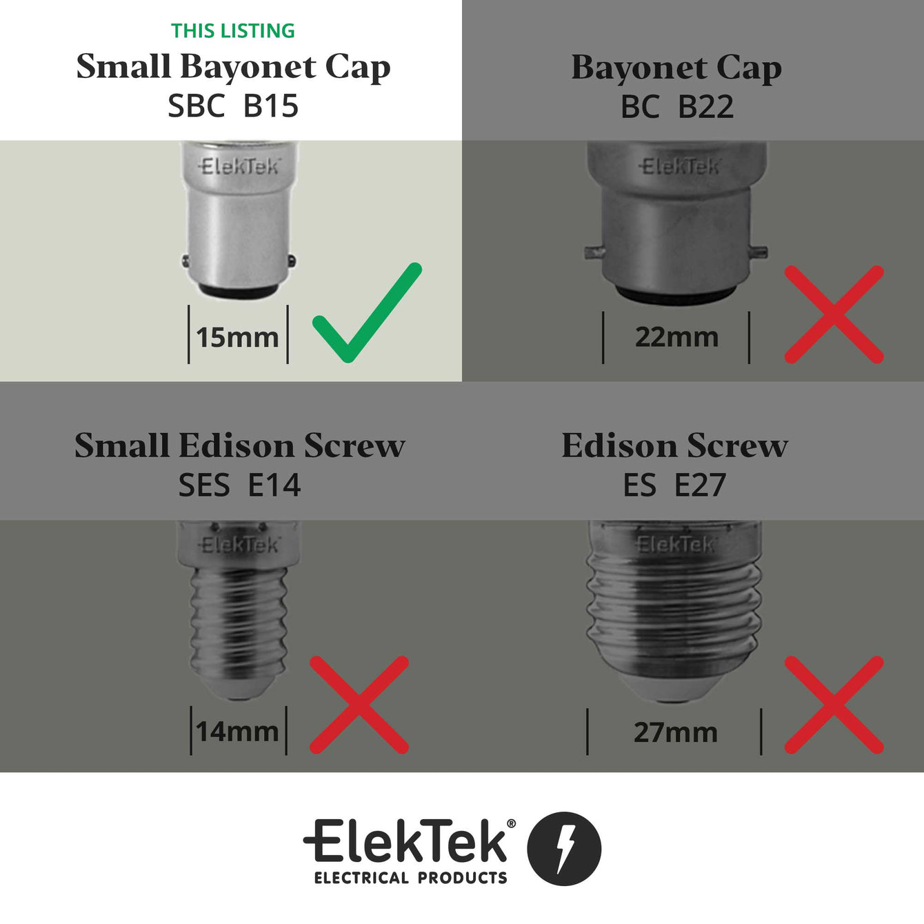 ElekTek Lamp Holder 10mm or Half Inch Entry Miniature Small Bayonet Cap SBC B15 With Shade Ring Solid Brass - Buy It Better Bronze / 10mm
