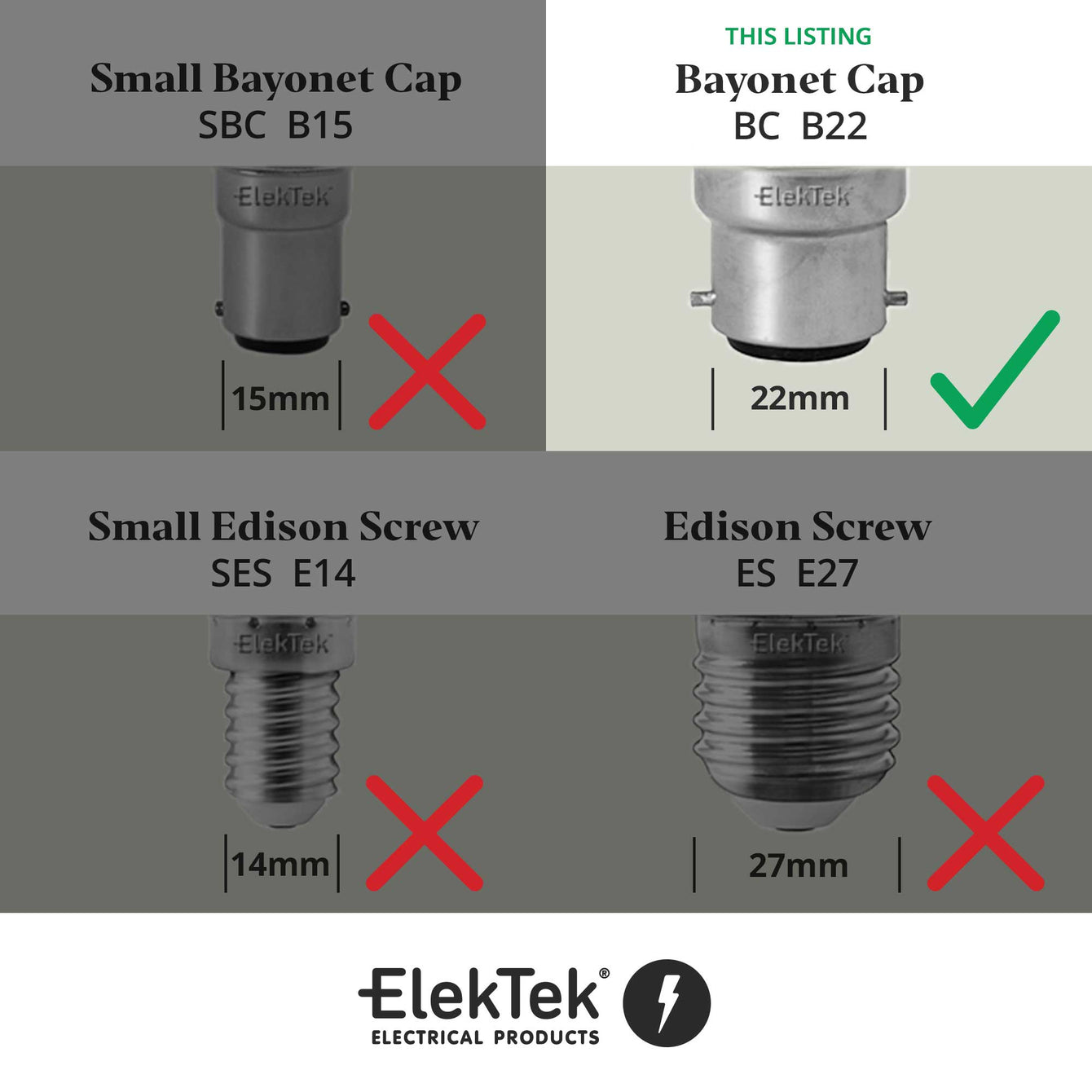 ElekTek Patented Safety Switch Lamp Holder Half Inch Bayonet Cap B22 With Shade Ring and Hook Solid Brass