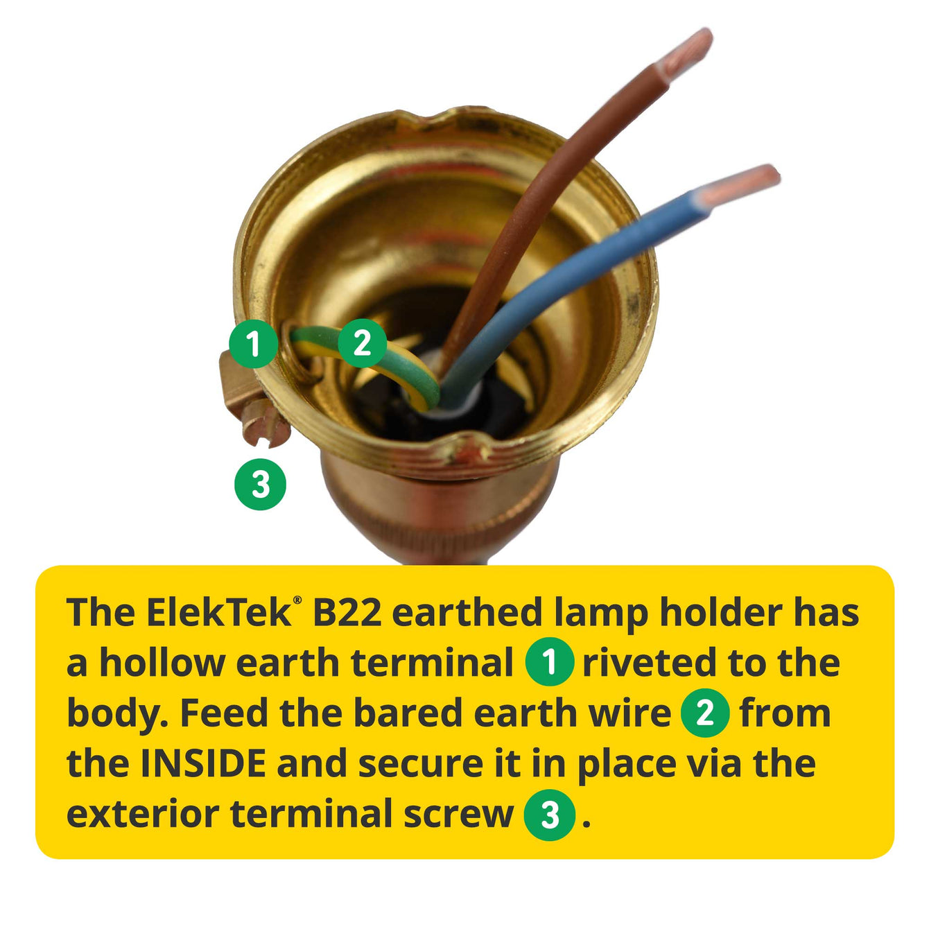 ElekTek Premium Lamp Kit Brass Unswitched B22 Lamp Holder with Gold Flex and 3A UK Plug - Buy It Better