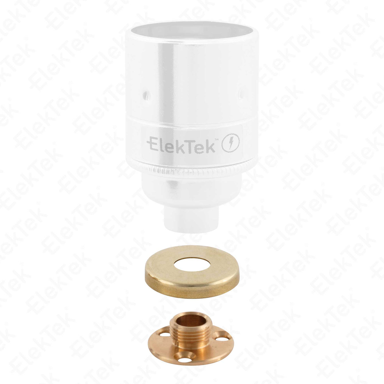 ElekTek Brass Back Plate Kit - 10mm Male Thread and Screws with Cover - For use with E27 10mm Lampholder Chrome