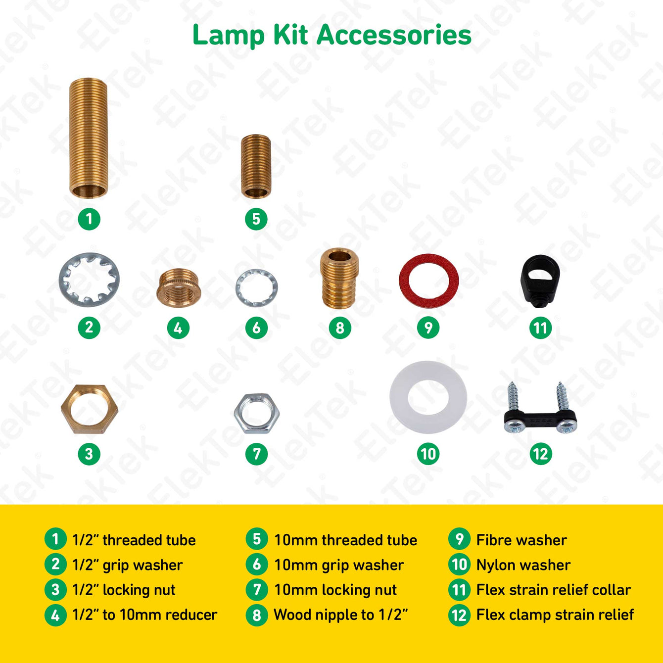 ElekTek Premium Lamp Kit Brass Shade Ring E27 Lamp Holder with Gold Flex, In Line Switch and 3A UK Plug Twisted