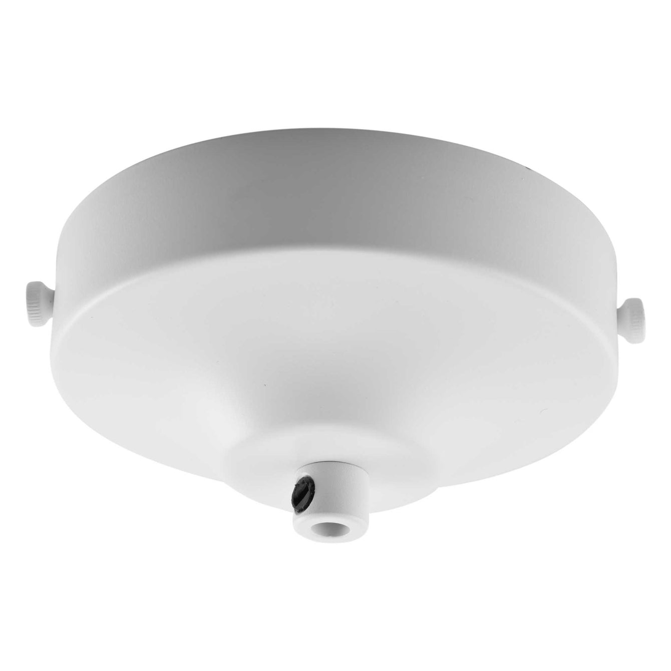 ElekTek 100mm Diameter Convex Ceiling Rose with Strap Bracket and Cord Grip Metallic Finishes Powder Coated Colours - Buy It Better Antique White