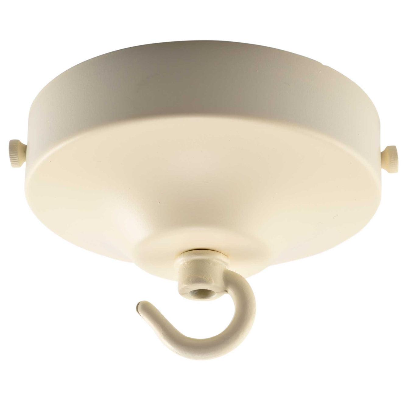 ElekTek 100mm Diameter Convex Ceiling Rose with Strap Bracket and Hook Metallic and Powder Coated Finishes
