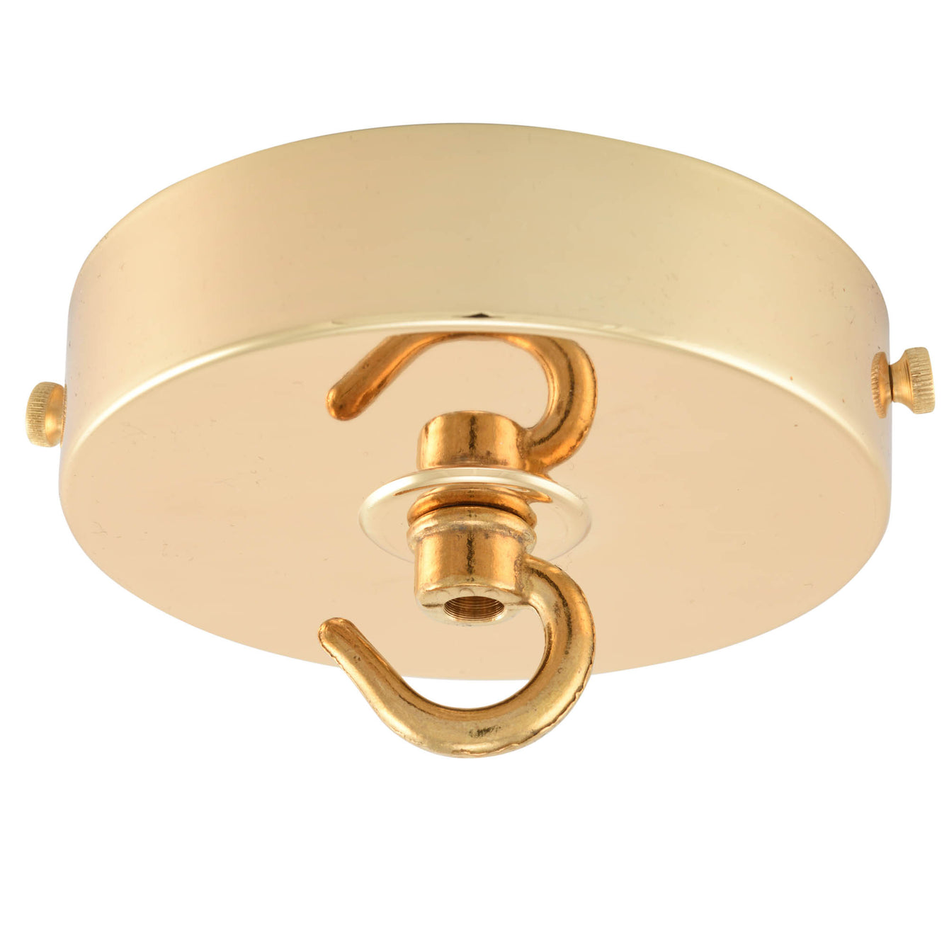 ElekTek 100mm Diameter Flat Top Ceiling Rose with Strap Bracket and Hook Metallic Finishes Powder Coated Colours Antique Brass