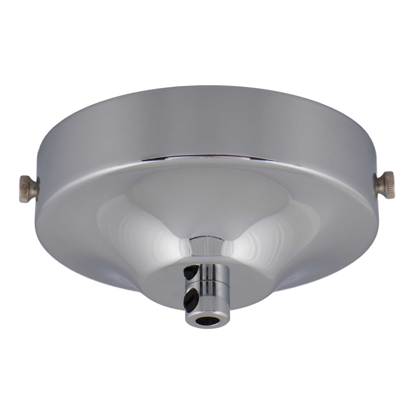 ElekTek 100mm Diameter Convex Ceiling Rose with Strap Bracket and Cord Grip Metallic Finishes Powder Coated Colours - Buy It Better Nickel