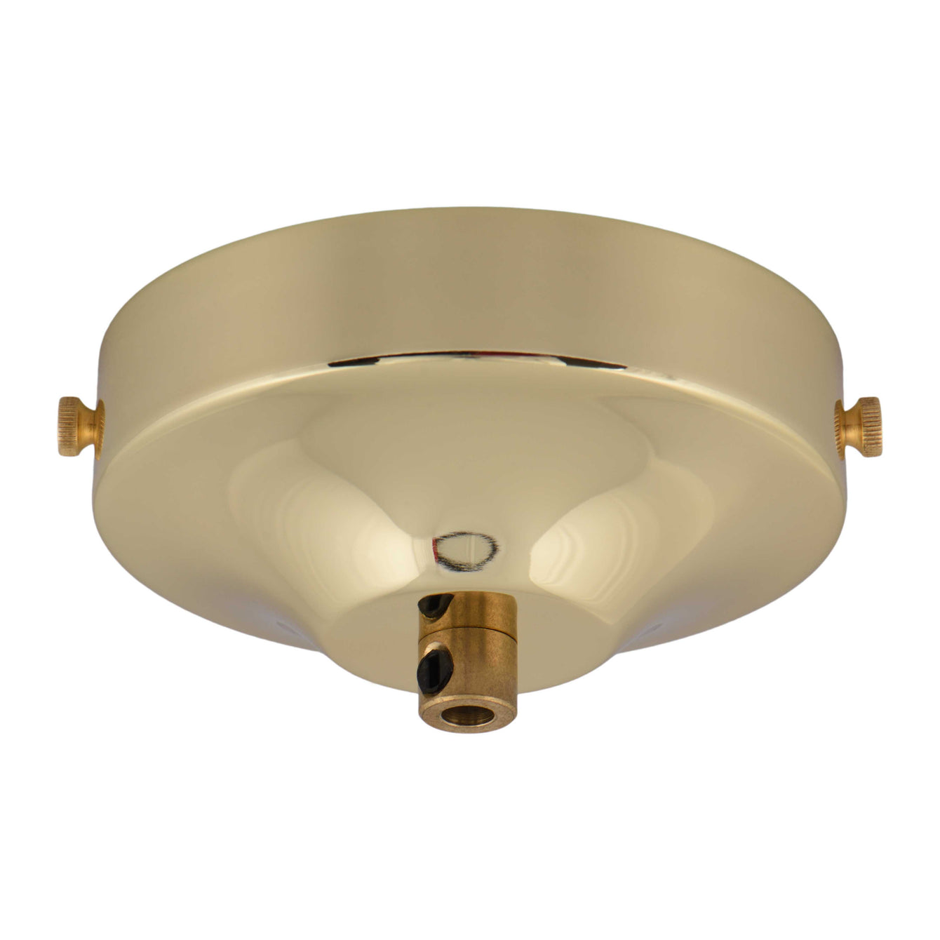 ElekTek 100mm Diameter Convex Ceiling Rose with Strap Bracket and Cord Grip Metallic Finishes Powder Coated Colours - Buy It Better Antique Brass