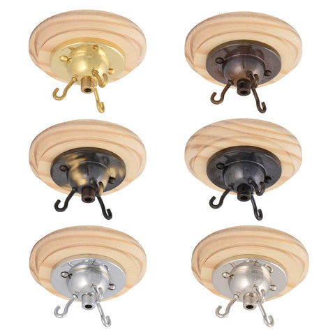 ElekTek 3 Hook Ceiling Rose Kit With Matching Screws Cord Grip and Pine Ceiling Pattress Metallic Finishes