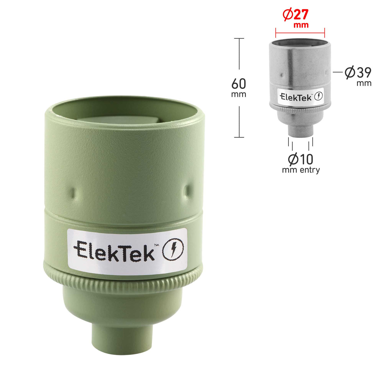 ElekTek ES Edison Screw E27 Lamp Holder Plain Skirt 10mm or Half Inch Entry Ideal for Vintage Filament Bulbs Brass - Buy It Better Willow Green / 10mm