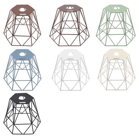 ElekTek Vintage Mora Hexagonal Medium Polyangle Cage Wire Frame Lamp Shade Colours