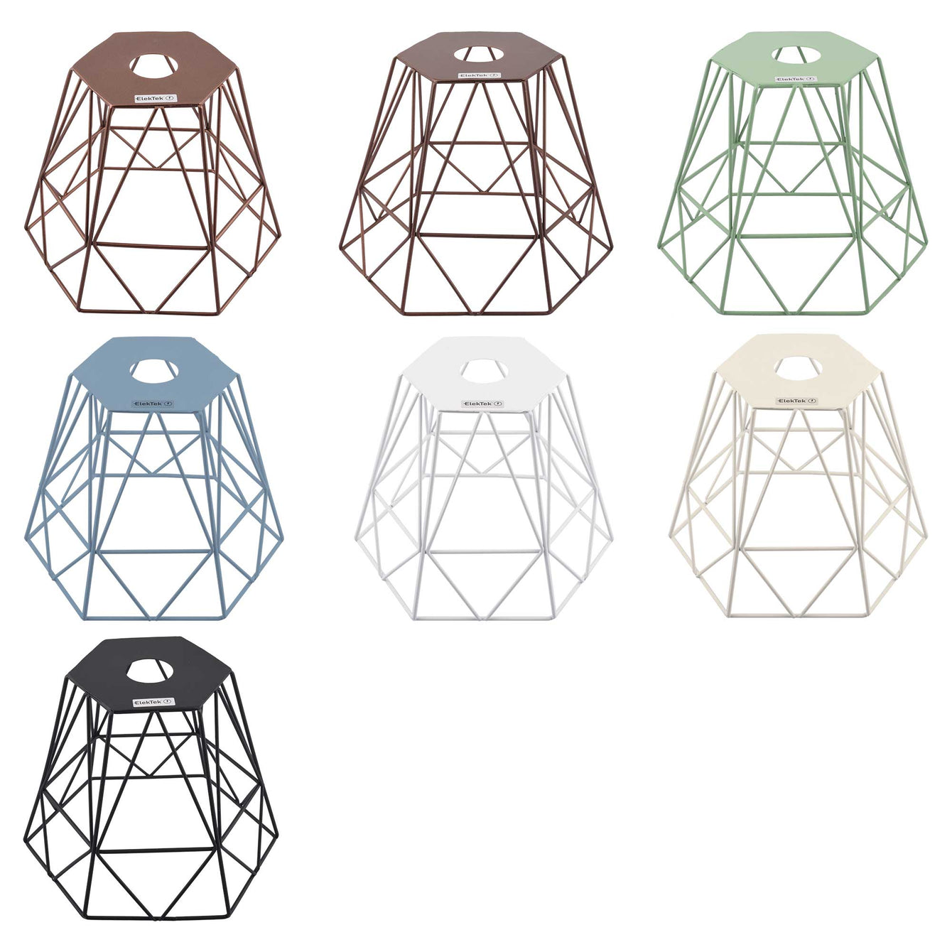 ElekTek Vintage Mora Hexagonal Medium Polyangle Cage Wire Frame Lamp Shade Colours - Buy It Better Antique Copper