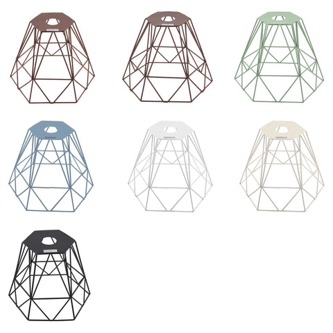 ElekTek Vintage Mora Hexagonal Large Polyangle Cage Wire Frame Lamp Shade Colours