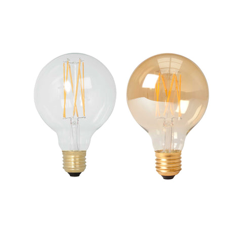 Calex LED Full Glass Long Filament Globe Lamp Bulb 240V 4W 350lm E27 GLB80, Clear 2300K Dimmable 425450