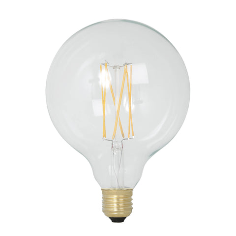 Calex LED Full Glass Long Filament Globe Lamp Bulb 240V 4W 350lm E27 GLB125, Clear 2300K Dimmable 425474