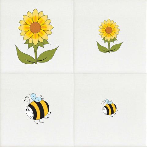 Water Slide Tile Transfers Inset Sunflower Bee