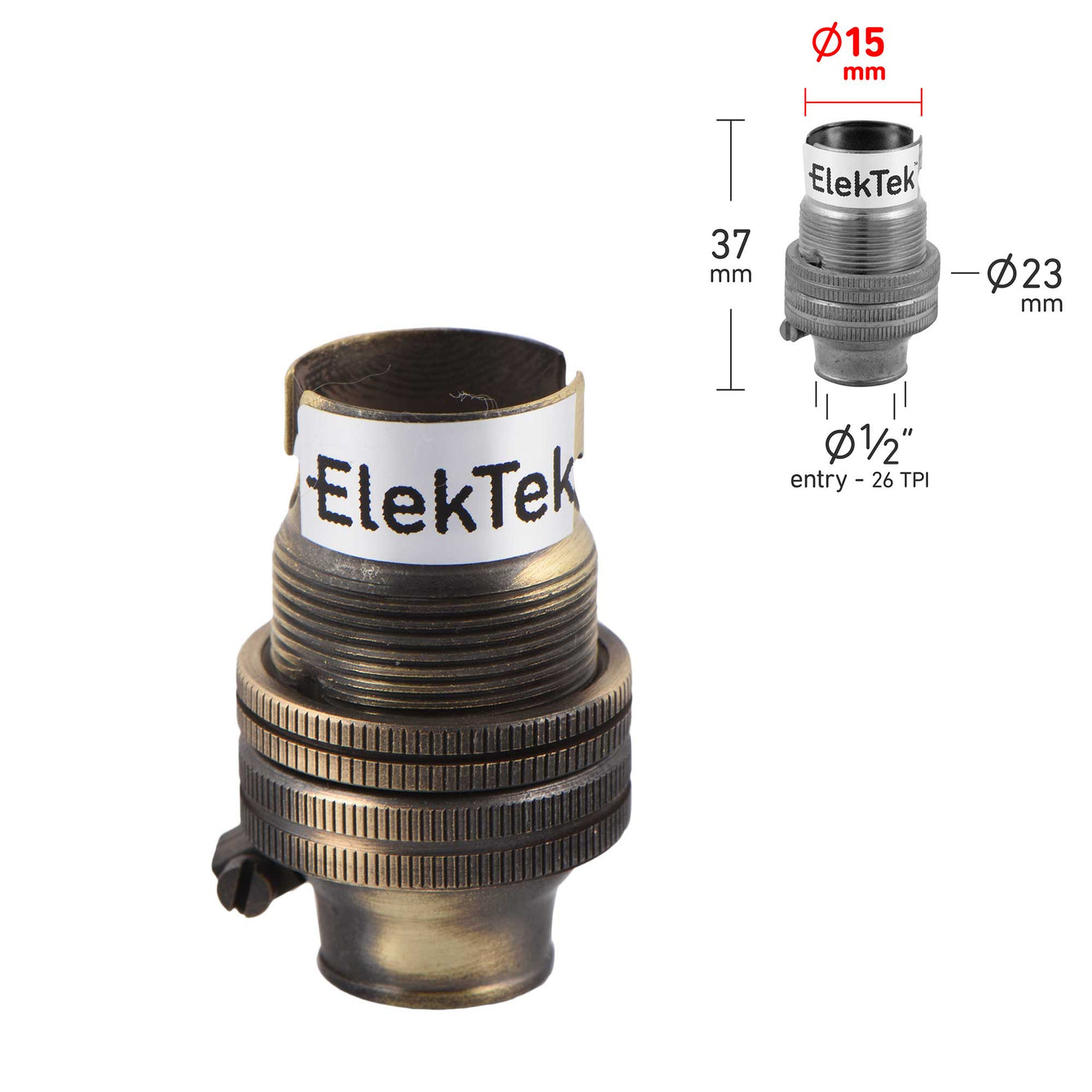 ElekTek Lamp Holder 10mm or Half Inch Entry Small Bayonet Cap SBC B15 With Shade Ring Solid Brass - Buy It Better Chrome / Half Inch