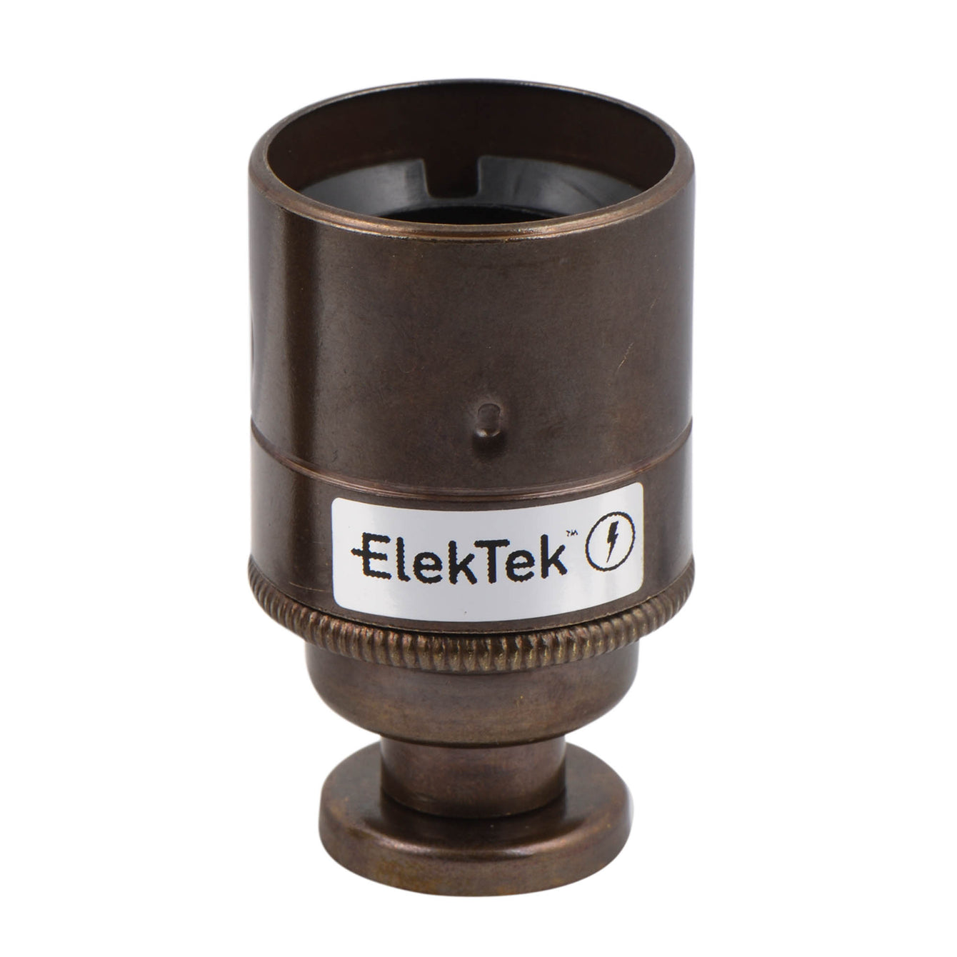 ElekTek ES Edison Screw E27 Lamp Holder Plain Skirt With Back Plate Cover and Screws Brass - Buy It Better Brushed Antique