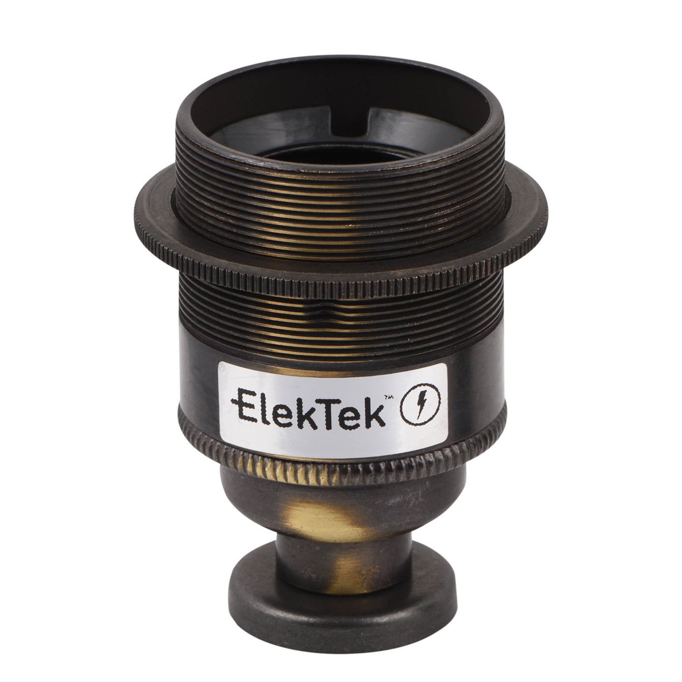 ElekTek ES Edison Screw E27 Lamp Holder Shade Ring With Back Plate Cover and Screws Brass and Matched Cover - Buy It Better Bronze
