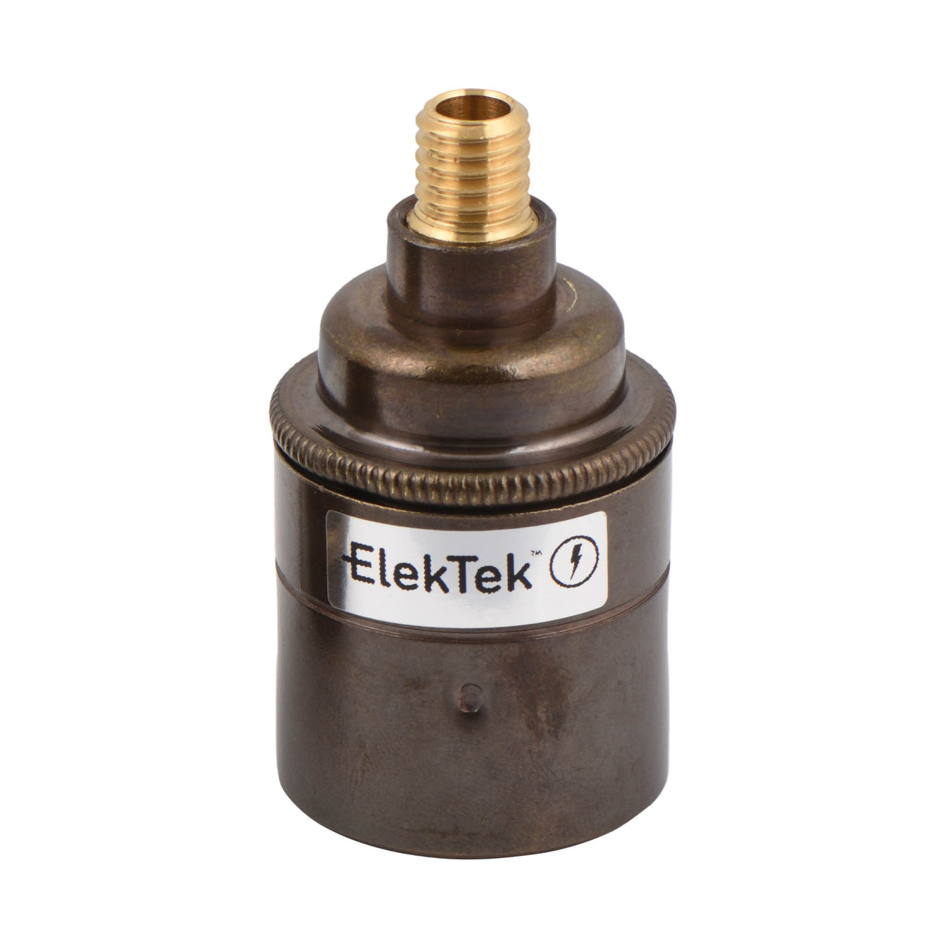 ElekTek ES Edison Screw E27 Lamp Holder Plain Skirt With Wood Nipple Brass - Buy It Better Brushed Antique